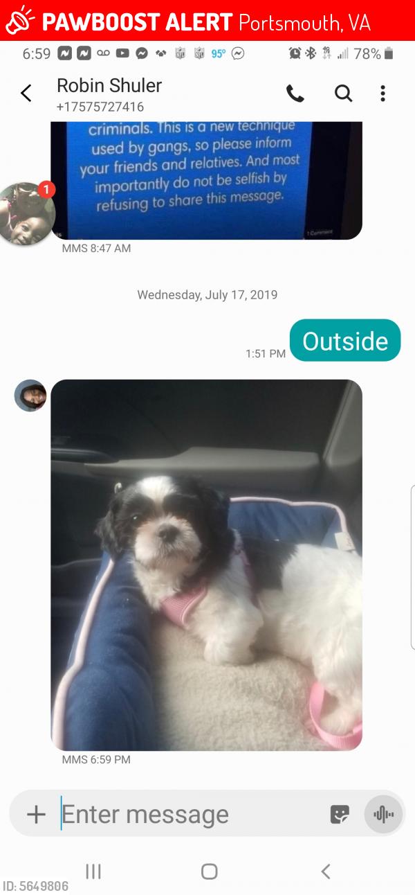 Lost Female Dog last seen Near Grand St & Carver Cir, Portsmouth, VA 23701